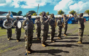 The V.I. Army Band plays during Sturday's opening ceremony. (Source Photo: Darshania Domingo)