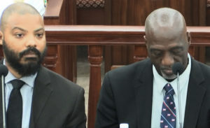 Quincy McRae, left, and Celvin Walwyn, officials at the V.I. Police Department, testify at a Senate committee hearing Monday. (V.I. Legislature photo)