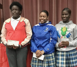 From Left, first-place winner Kayniah Florence, second place Abigail Valery, and third place winner Jaliyah Clarke. Source photo by Elisa McKay)
