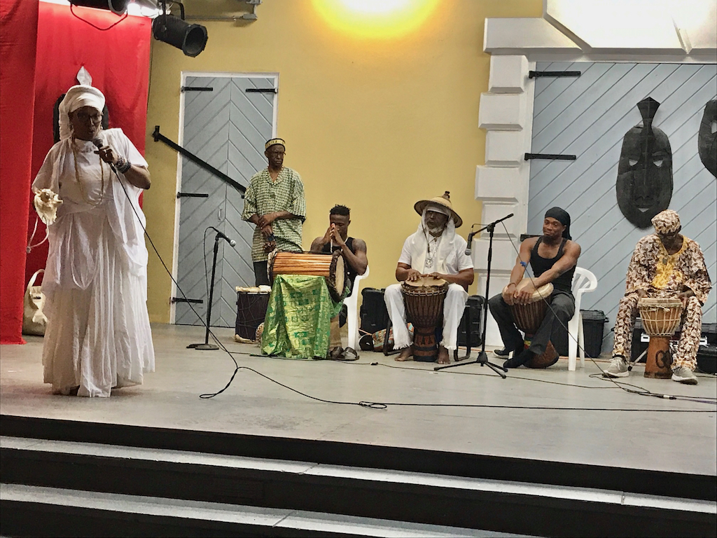"Chenzira David Kahina presents history of Bamboula, which she called a precursor to quadrille, quelbe music and Cariso. Davis is accompanied by the Per Ankh Family musicians: George Franklin, Anuptah Kahina, Asarkasaamsu ""NebKaRa"" Herishetapaheru, Anuka Kahina, Junie Bomba. (Sourcep photo by Elisa McKay)"