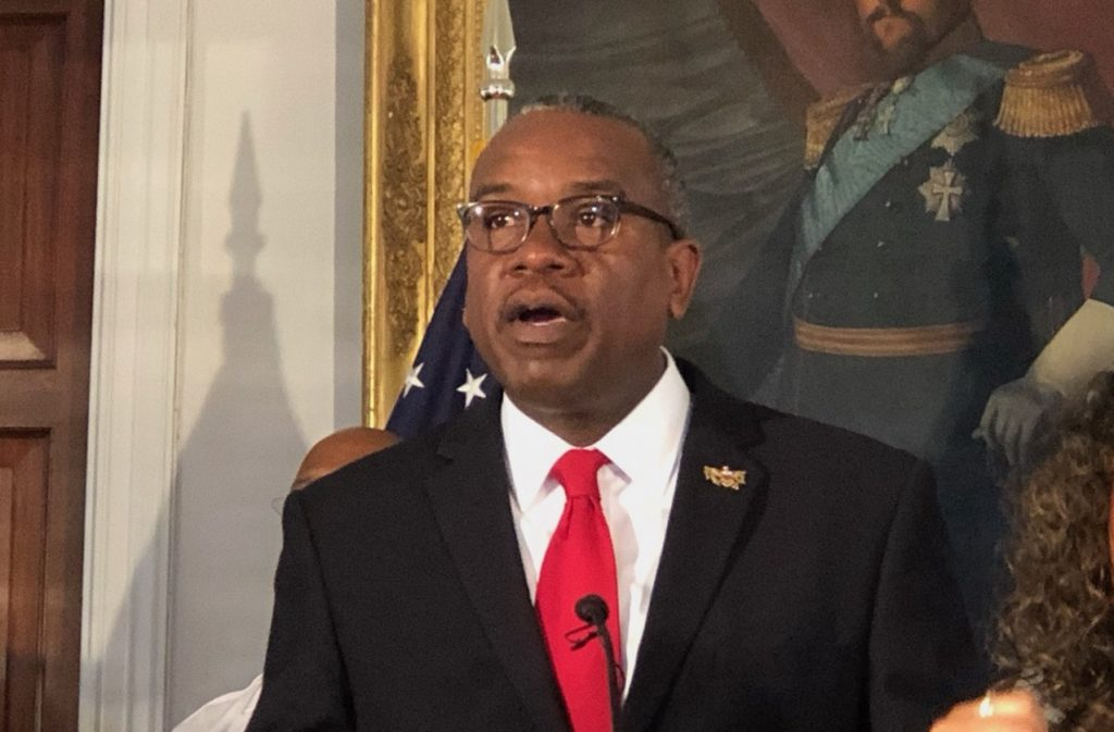 Gov. Albert Bryan speaks about the coronavirus in this March photo. (File photo by Susan Ellis)
