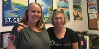 Jennie Ogden, left, editor of GoToStCroix.com, and Wendy Solomon, owner of the website, in their downtown Christiansted office. (Source photo by Elisa McKay)