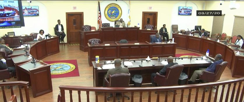 Senators spread out for Friday's session. (Image from V.I. Legislature video stream)