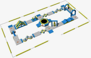 A drawing of the proposed inflatable water park structure shows 28 floating pieces. (Photo from CTC Charters LLC)