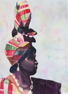 "Letisha Ayala's artwork, titled ""Lady in Madras,"" took second place. (Image from the Virgin Islands Council of the Arts)"