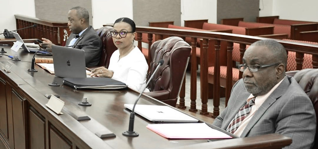 The government's financial officials, from left, Public Finance Authority Executive Director Kirk Callwood Sr., Office of Management and Budget Director Jenifer O'Neal, and Public Finance Authority Administration and Finance Director Nathan Simmonds, testify in Monday's finance hearing. (Photo by Barry Leerdam, USVI Legislature)