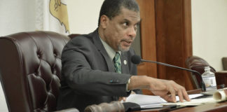 Chair of the Committee on Finance Sen. Kurt Vialet leads Monday's discussions. (Photo by Barry Leerdam, USVI Legislature)