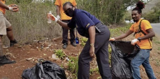 Virgin Islands Police help with the clean up effort. (Photos provided by Jody Olsen)
