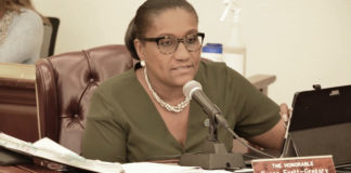 Sen. Donna Frett-Gregory tells the Senate it's time for the measure to move forward. (Photo by Barry Leerdam, U.S. Virgin Islands Legislature)