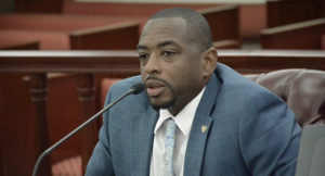 Department of Sports, Parks, and Recreation Commissioner Calvert White testifies during Thursday's Finance Committee meeting. (Photo by Barry Leerdam, USVI Legislature)