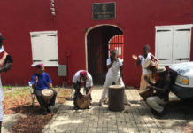 Emancipation Day Drummers play in front of Fort Frederik at the end of the Walk to Freedom. (Source photo by Elisa McKay)