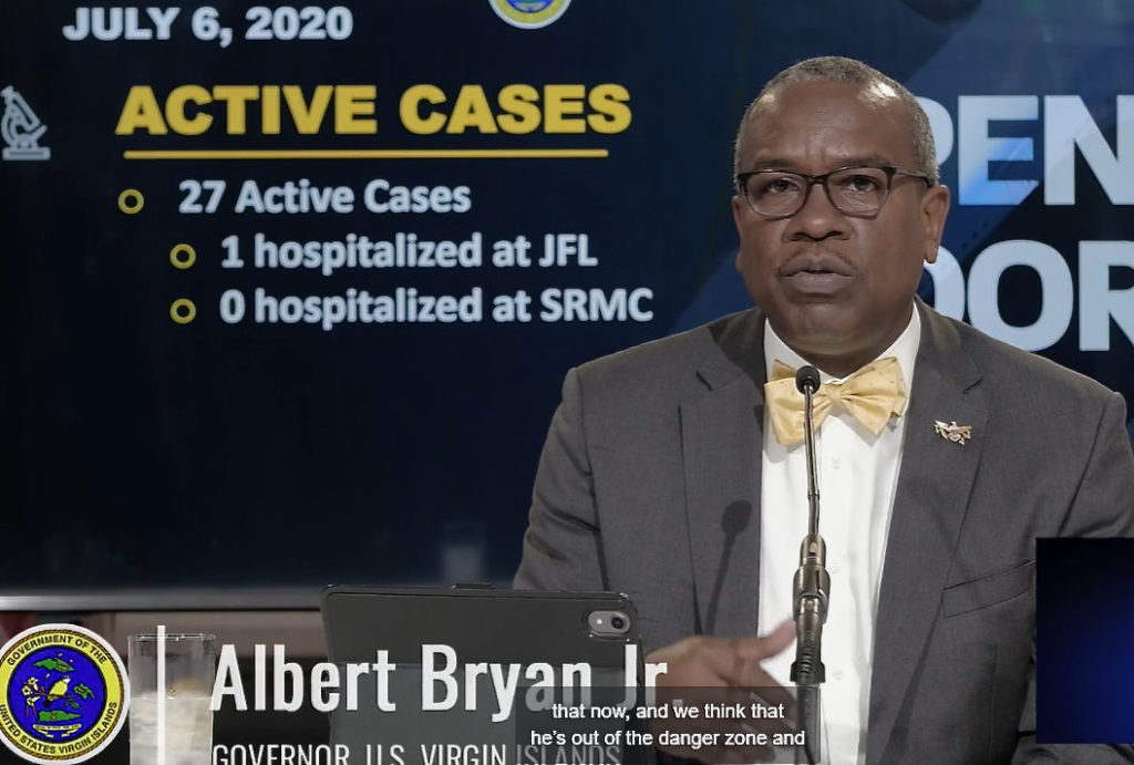 Gov. Albert Bryan, Jr. announces tighter restrictions for Limetree Bay employees as COVID-19 cases climb, along with additional screening for visitors coming in from states with high infection rates. (Screen capture)