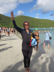Source Reporter Amy Roberts gets ready for the Power Swim Sunday at Maho Bay Beach. (Source photo by Judi Shimel)